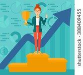 cheerful woman on pedestal. | Shutterstock .eps vector #388409455
