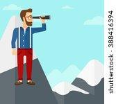 businessman looking through... | Shutterstock .eps vector #388416394