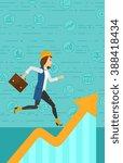 woman running on growth graph.    Shutterstock .eps vector #388418434