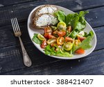 fresh tomatoes and garden herbs ... | Shutterstock . vector #388421407