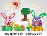 happy easter day  handmade... | Shutterstock . vector #388421989