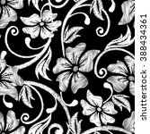 black and white hibiscus... | Shutterstock . vector #388434361