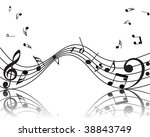 musical notes staff background... | Shutterstock . vector #38843749