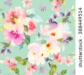 seamless pattern with flowers... | Shutterstock . vector #388449514