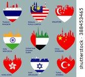 set of nine cities skylines in... | Shutterstock . vector #388453465