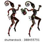 dancing people in ethnic style... | Shutterstock .eps vector #388455751