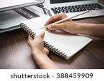handwriting  hand writes with a ... | Shutterstock . vector #388459909