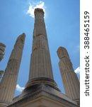 Small photo of Columns of Pergamon at high noon, Turkey