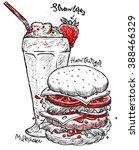 hamburger and milkshake... | Shutterstock .eps vector #388466329