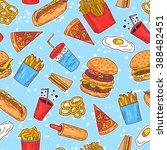 hand drawn seamless american... | Shutterstock .eps vector #388482451