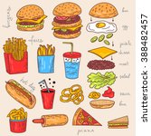 sketchy fast food illustrations.... | Shutterstock .eps vector #388482457