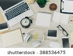 office table with notepad ... | Shutterstock . vector #388536475