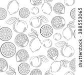 black and white citrus seamless ... | Shutterstock .eps vector #388553065