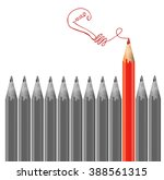 gray pencils and one red pencil ... | Shutterstock .eps vector #388561315