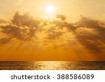 Sunset With Sun Rays And Cloud...