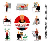freelance designer set with... | Shutterstock .eps vector #388588339
