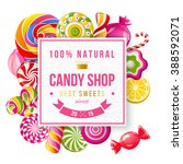 paper candy shop label with... | Shutterstock .eps vector #388592071