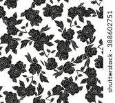 black roses on a white... | Shutterstock .eps vector #388602751