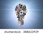 electric bulb with auto parts... | Shutterstock . vector #388622929