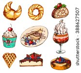 set with desserts  cupcake  ice ... | Shutterstock .eps vector #388627507