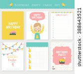 set of six birthday cards ... | Shutterstock .eps vector #388643521