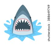 shark with open mouth. shark... | Shutterstock .eps vector #388649749