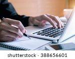 businessman hand working with... | Shutterstock . vector #388656601