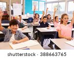 elementary school kids in a... | Shutterstock . vector #388663765