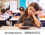 bored girl reading tablet in... | Shutterstock . vector #388664521