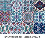 handmade turkish blue tiles on... | Shutterstock . vector #388669675