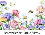 Watercolor Spring Flower Garden.