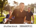 group of male golfers walking... | Shutterstock . vector #388680931