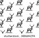 seamless deer background....   Shutterstock .eps vector #388684294