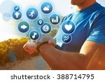 exercising man checking... | Shutterstock . vector #388714795