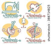 handmade logo collection in... | Shutterstock .eps vector #388714825