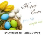 easter card with colorful eggs... | Shutterstock . vector #388724995