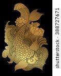 zentangle koi fish gold on... | Shutterstock .eps vector #388727671