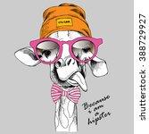 giraffe portrait in a hipster... | Shutterstock .eps vector #388729927