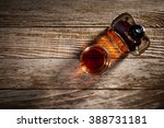 overhead view of a glass and... | Shutterstock . vector #388731181