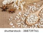 job's tears with wooden spoon ...   Shutterstock . vector #388739761