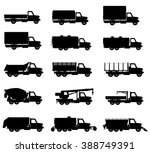 set icons trucks semi trailer... | Shutterstock . vector #388749391