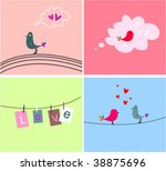 collection funny cards with bird | Shutterstock .eps vector #38875696