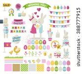 happy easter set.vector... | Shutterstock .eps vector #388777915