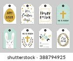 easter gift tags with cute... | Shutterstock .eps vector #388794925