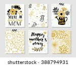 Collection of 6 cute card templates for Mothers Day.Stylish simple design with gold glitter texture. Stylish spring design. Vector illustration.