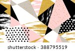 Abstract hand drawn geometric seamless pattern  or background with glitter, sharpen textures, brush painted elements. Poster, card, textile, wallpaper template. Gold, pink, black and white colors.  | Shutterstock vector #388795519