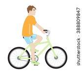 attractive man in an orange... | Shutterstock .eps vector #388809847