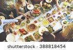 buffet dinner dining food... | Shutterstock . vector #388818454