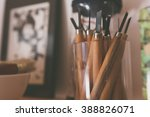palette knifes with wooden... | Shutterstock . vector #388826071