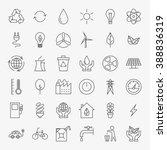 ecology line art design icons... | Shutterstock .eps vector #388836319
